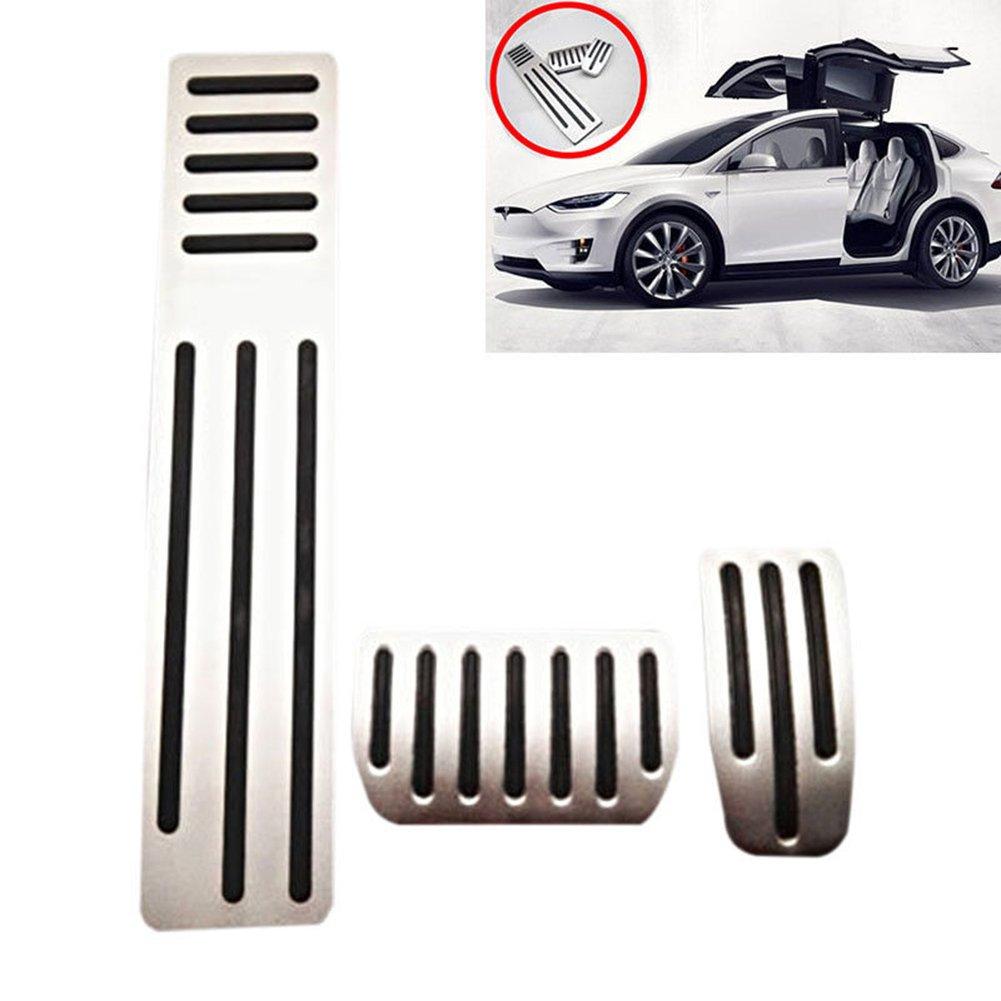 Aluminum Alloy Accelerator Brake Pad Foot Rest Pedal Set For Tesla Model S