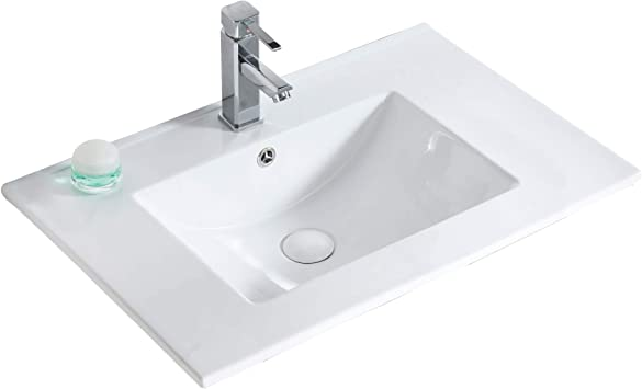 Frameport Standard Vanity Sink Replacement White High Gloss Vitreous China Material 30 X 18 Sink Only Replacement Part Amazon Com