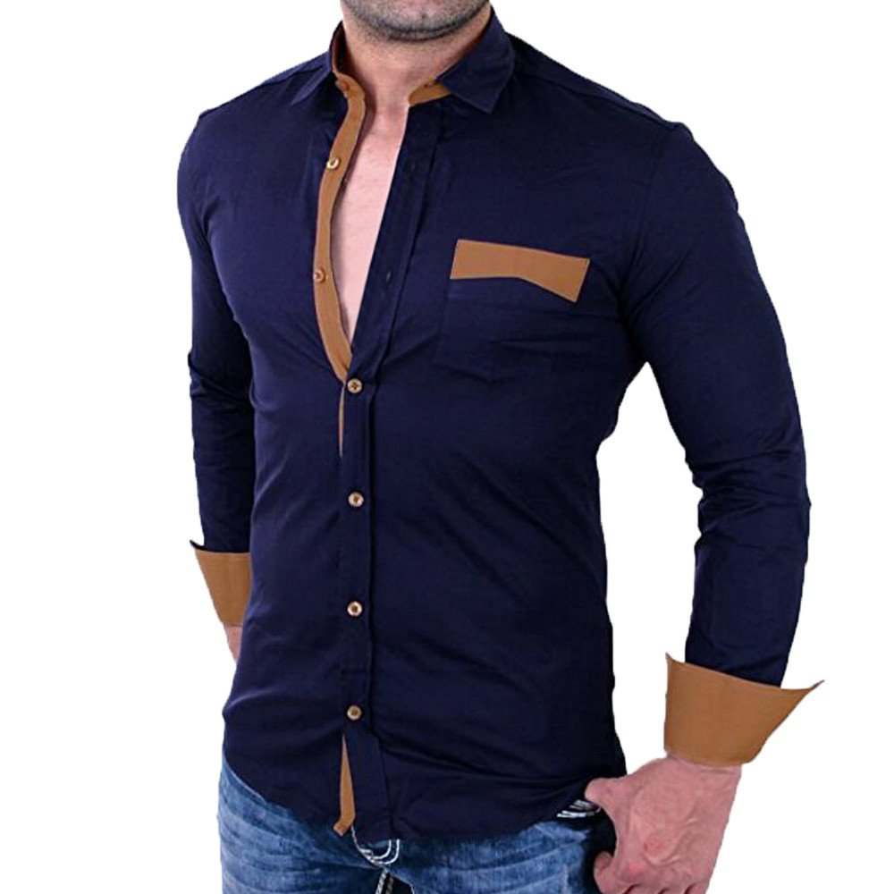 PASATO Classic Men's Casual Pullover Patchwork Long Sleeved Pocket T-shirt Top Blouse Clearance Sale(Navy, XL=US:L)