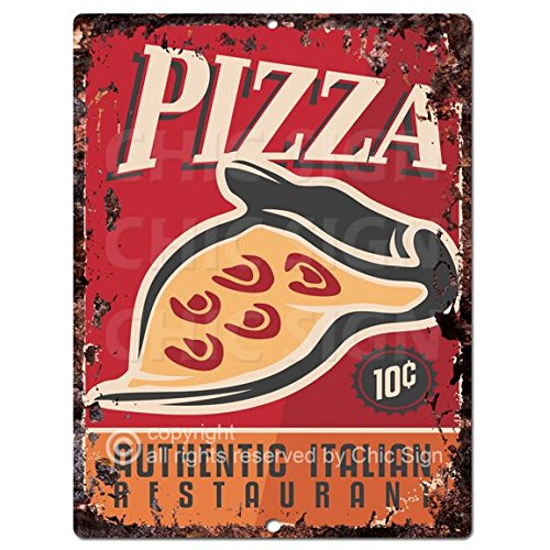 Amazon.com: Pizza Sign rústico retro cocina restaurante ...