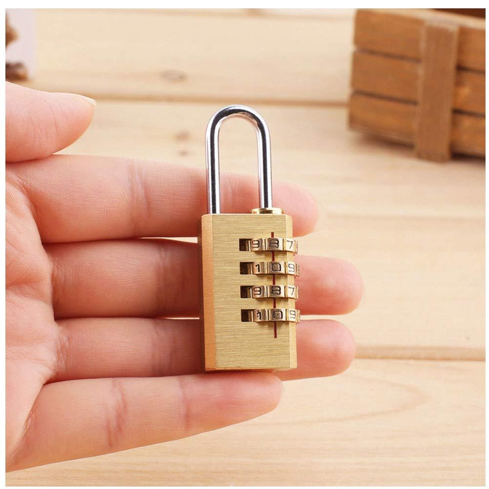 1pc Brass r/éarmables 4 chiffres Cadenas /à combinaison de s/écurit/é Serrures /à bagages Serrures de mot de passe pour les valises Closet