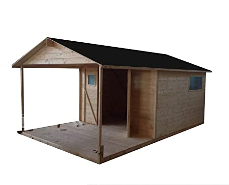 Cadema - Cobertizo de madera para jardín con terraza (9m2