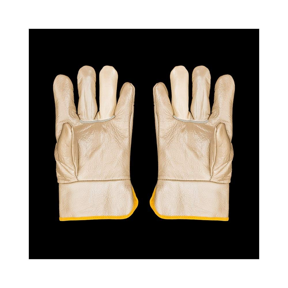 YIBANG-DZSW Labor Insurance Special Gloves Wear-Resistant Anti-scalding Welding Gas Welding Gloves, 12 Pairs (Color : Beige, Size : L)