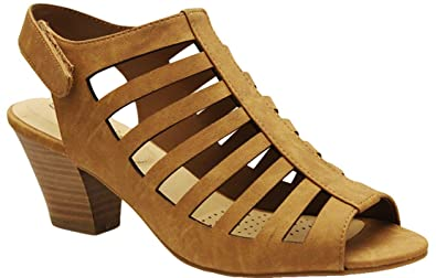a43170828b6 City Classified Women s Lineup Faux Leather Open Toe Gladiator Cutout Cone  Stacked Heels MVE Shoes mve