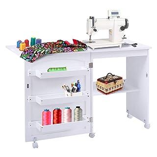 Giantex Folding Sewing Table Space Saving Craft Cart Shelves Storage Cabinet Home Furniture W/Wheels White