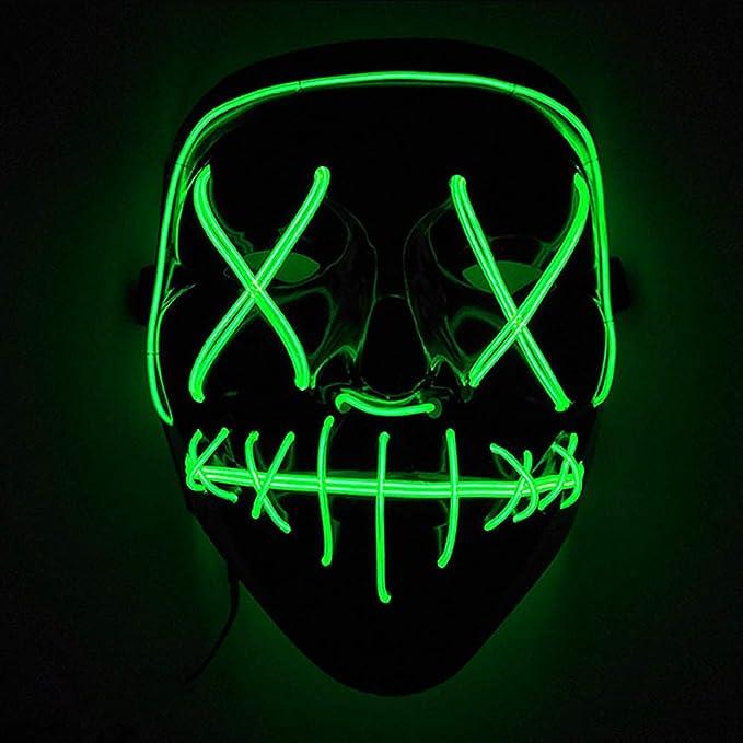 Máscaras led con luz neón para disfraz de color verde flúor