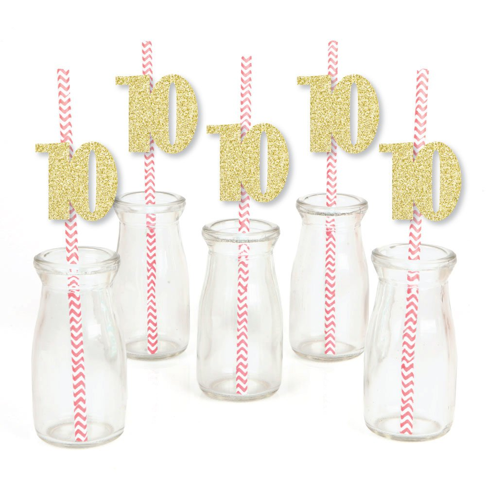 No-Mess Real Gold Glitter Cut-Out Numbers /& Decorative 10th Birthday Party Paper Straws Set of 24 Gold Glitter 10 Party Straws