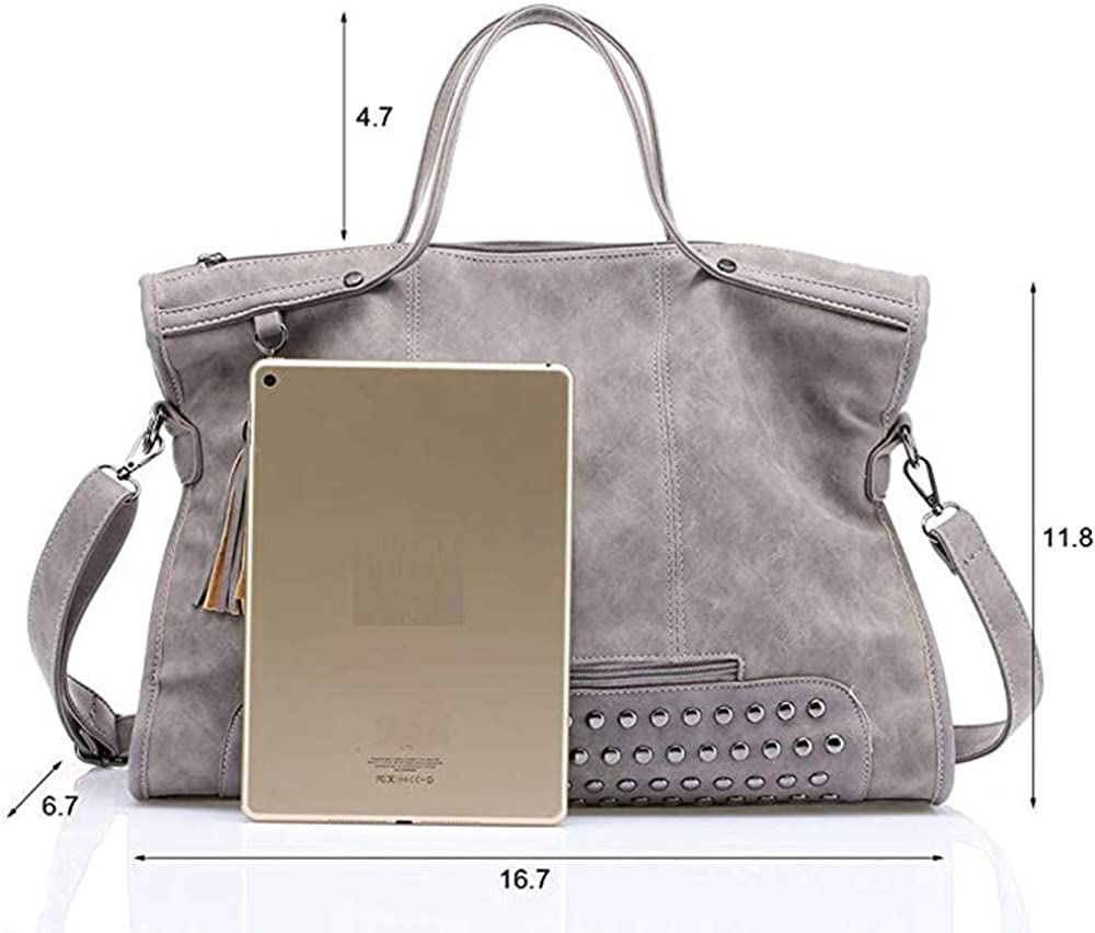 Crossbody Tote with Tassel for Shopping Office Lady Women Handbags Large Capacity Shoulder Satchel PU Leather