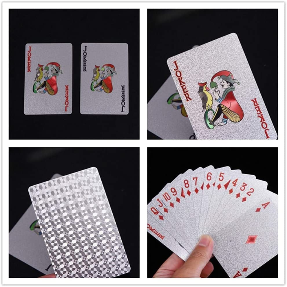 Gold+Silver jcoral 2 Pack Gold Foil Poker,Gold Playing Cards Highly Flexible,Waterproof Poker Cards,Plastic Playing Cards Black Diamond Silver Dollar PVC Playing Cards
