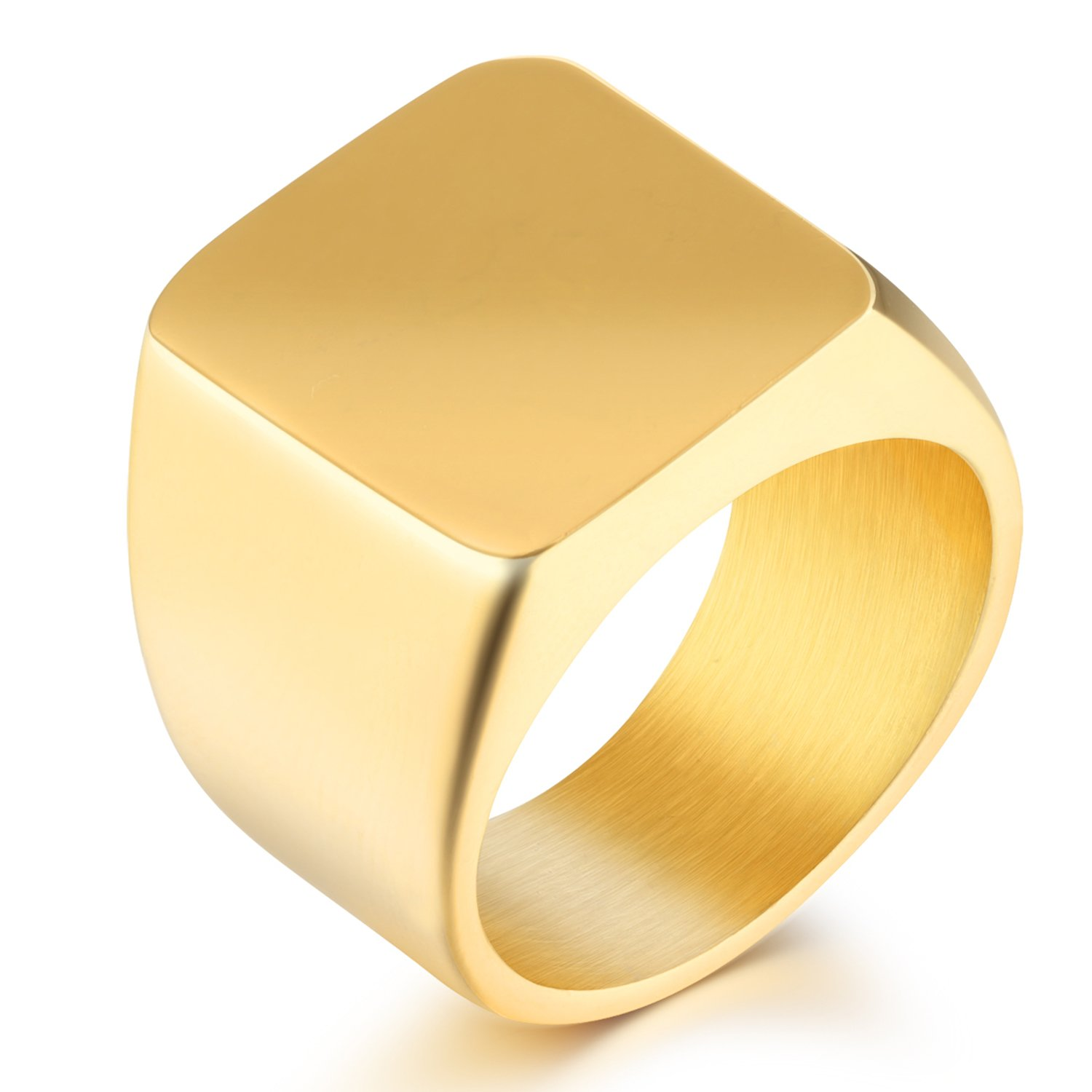 Yoursfs Stainless Steel Signet Ring for Boys Polished Pinky Ring Size
