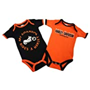 Harley-Davidson Baby Boys' Grandpa Rides A Harley Creeper 2-Pack 1153044 (3/6M) Orange