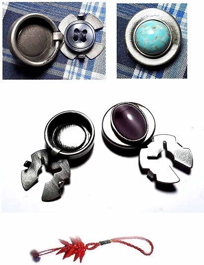 artesanal 1 par de cubrebotones 18 mm piedra ovalada violeta ...