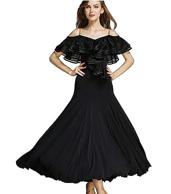 a1f81d330 CHAGME Lotus Leaf Costume Ballroom Dress Modern Dance Skirt National Dress  Waltz Dress Black M