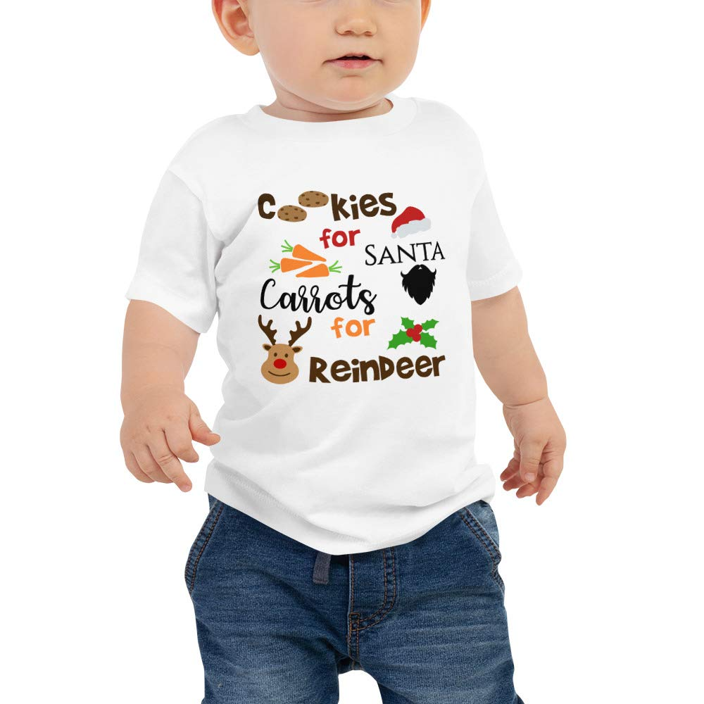 Cheeky Apparel Cookies for Santa Carrots for Reindeer First Christmas Baby Jersey Short Sleeve Tee