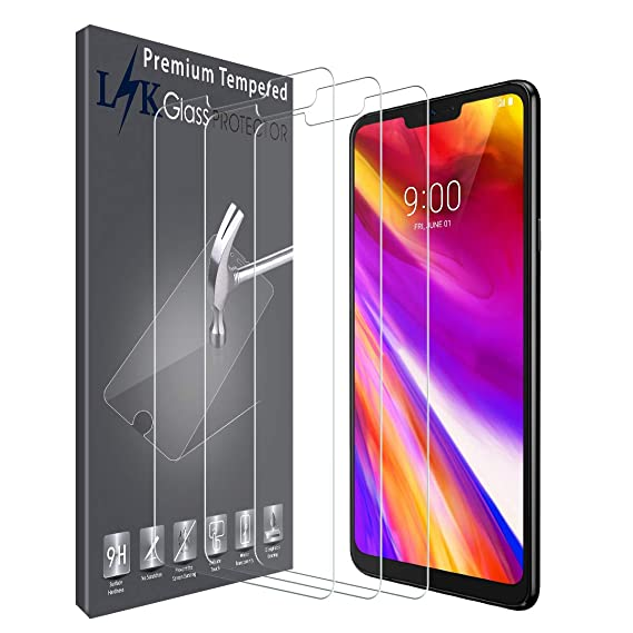 save off 30d08 fce8a LK [3 Pack] Screen Protector for LG G7 ThinQ, Tempered Glass with Lifetime  Replacement Warranty