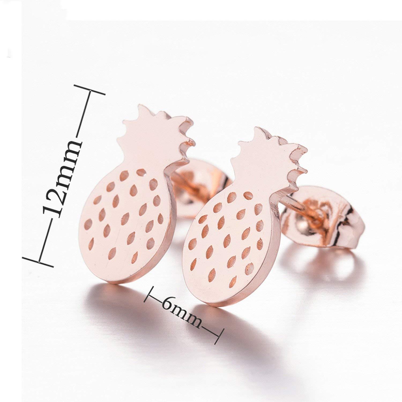 Stainless Steel Fox Stud Earrings For Women Girls Cute Animal Paw Earings Pineapple Lighting Earrings Jewelry Gifts,Tree Earrings Ged073,Rose Earrings