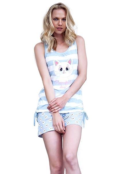 Admas - Pijama Corto Para Mujer Rayas, Color Azul, Talla Xxl