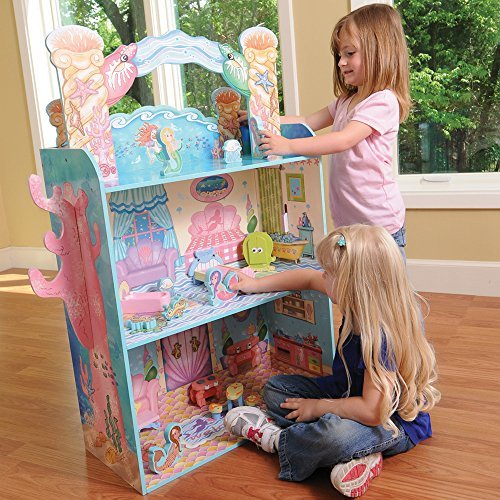 (CP Toys Wooden Majestic Mermaid Mansion Dollhouse with 4 Figures and Accessories)