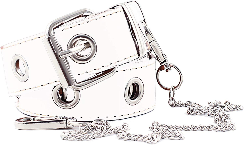 ZOYLINK Cintur/ón De Jeans Para Mujer Moda Hollow Punk Estilo Pantalones Cintur/ón Con Cadena