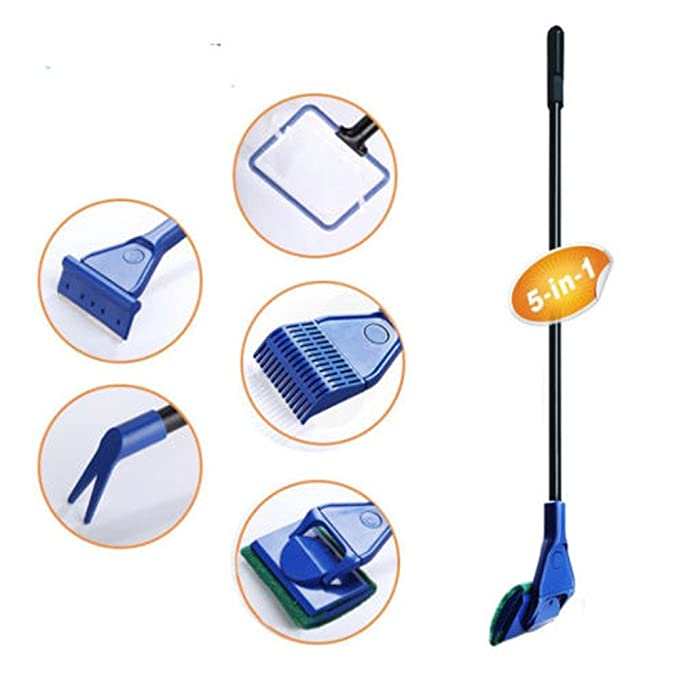 Amazon.com: Rumas 5 in 1 Scalable Fish Tank Cleaning Set - Aquarium Algae Scrubber - Turtle Tank Glass Clean Scraper - Fish Net Gravel Rake Algae Scraper ...