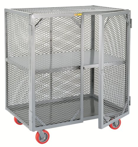 Little Giant SC-2448-6PPY Welded Steel Visible Mobile Storage Locker with Fixed Center Shelf, 2000 lbs Load Capacity, 56