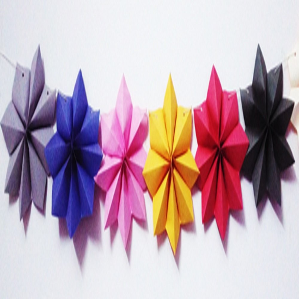 3D Paper Big Stars Garland for Party Decoration(Set of Pack