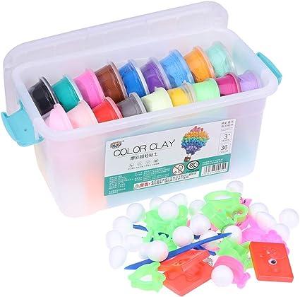 Toyvian Kit de Arcilla de plastilina DIY 36 Colores Modelado Herramientas de Arcilla para niños Niños: Amazon.es: Juguetes y juegos
