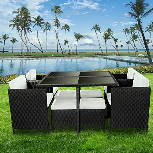 bigzzia 9 Piece Rattan Outdoor Chair Set with Dining Table