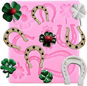 Horse Shoe Clover Hoof Leaf Silicone Mold DIY Chocolate Crystal Pudding Ice Cube Gum Paste Candy Desserts Cupcake Cake Topper Decoration Fondant Mold Jelly Shots Soap Mould Handmade Ice Cream