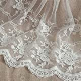 Creamy White 3 Yards Retro Floral Embroidered Mesh Lace Fabric Wedding Bridal Veils Craft Scalloped Trim Lace for DIY Dress 7
