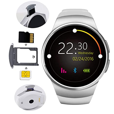 Fitness Tracker tarjeta tarjeta reloj inteligente dial redondo Bluetooth wear compatible Android IPhone hombres y mujeres