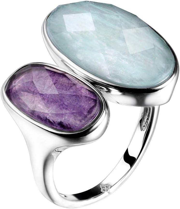 WTPUNGB Anillos de Piedras Preciosas de Plata esterlina 925 Anillos de Piedra Natural de fluorita de amazonita Joyería de Mujer Anillo de tamaño Ajustable