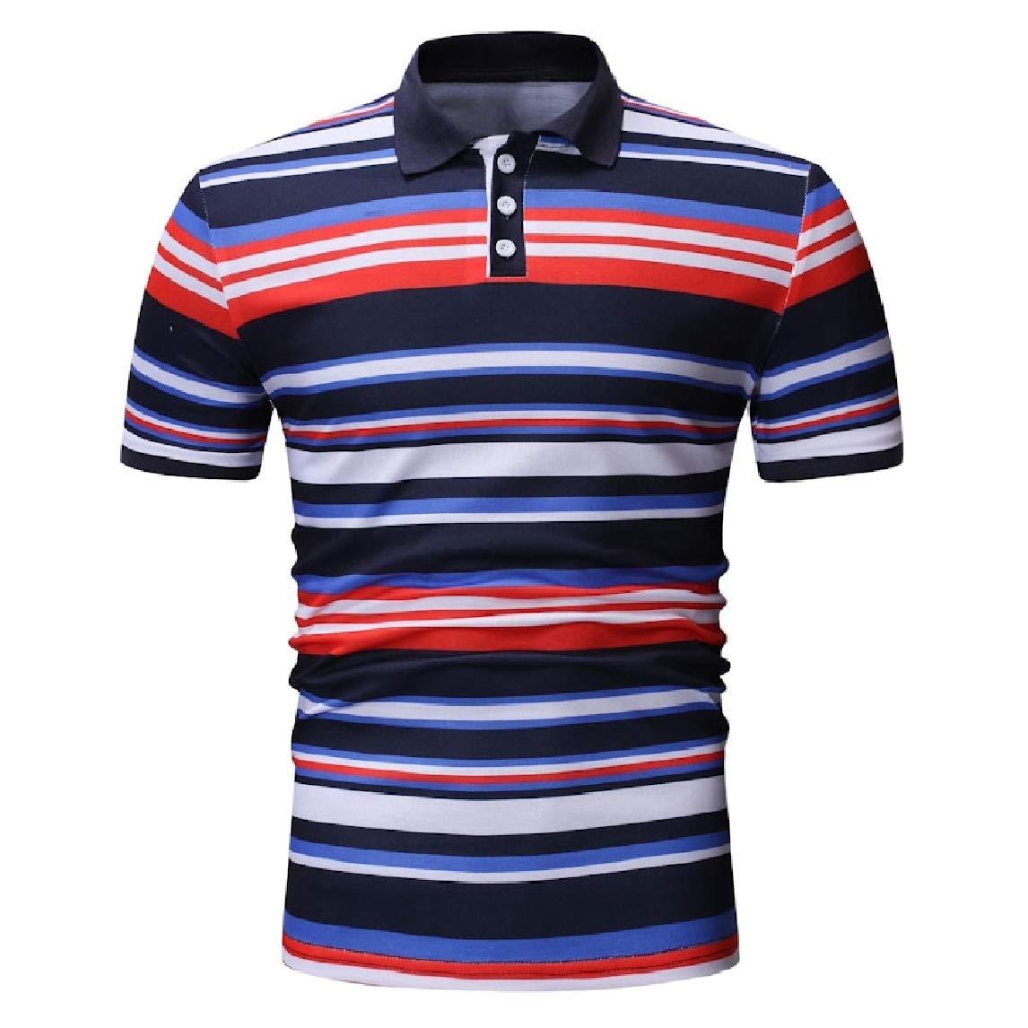 Mfasica Men Causal Lapel Summer Silm Fit Stripes Printed Polo Shirt