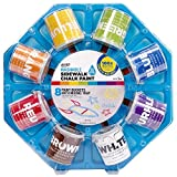 RoseArt Washable Sidewalk Driveway Chalk Paint Color Wheel, with 8 Fun Colors and 8 Foam Brushes