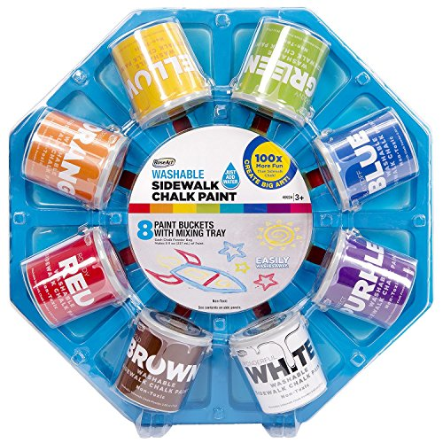RoseArt Washable Sidewalk Driveway Chalk Paint Color Wheel, with 8 Fun Colors and 8 Foam Brushes (Sidewalk Chalk Container compare prices)