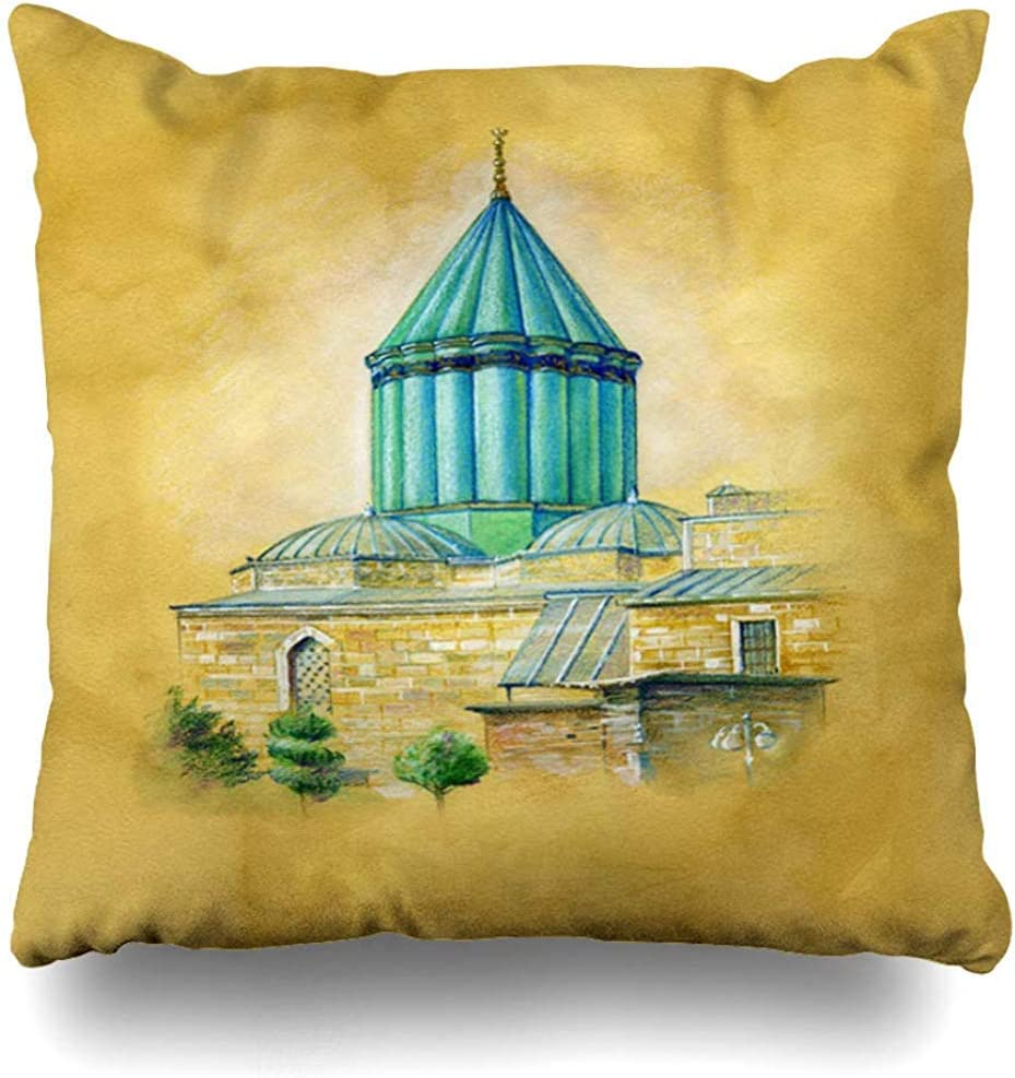 Throw Pillow Cover Cushion Case Medieval Castle Green Tomb Konya Turkey Watercolor Drawing Church Cityscape Country Culture Design Home Decor Design Square 18 x 18 Inch Zippered