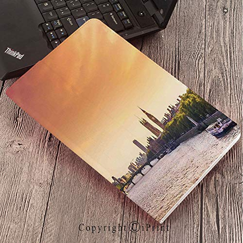 for Galaxy Tab S3 9.7″,TPU Silicone Case for Samsung Galaxy Tab S3 T820 / T825,London,Sunset View Bridge on Thames River Ferris Wheel London Eye Big Ben Westminster,Peach and Pink