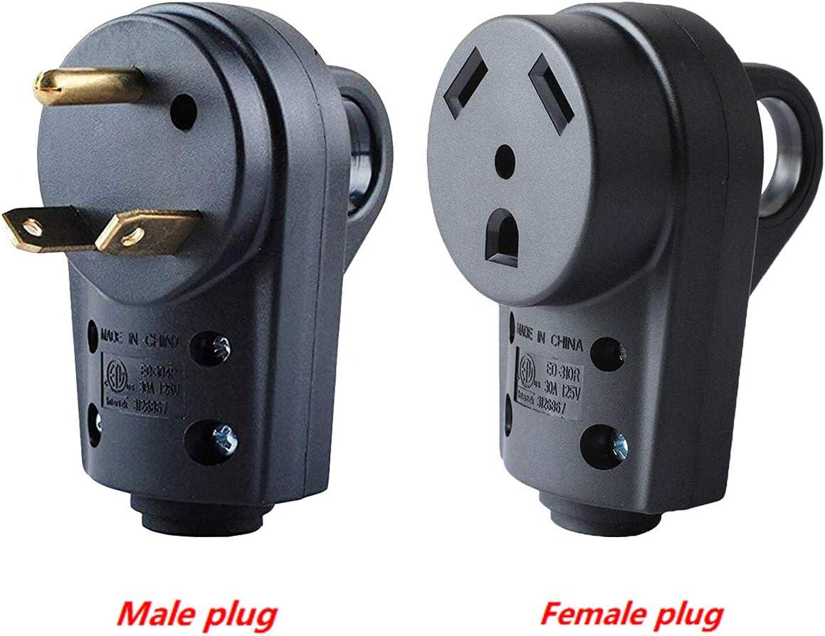 Wadoy 30 Amp RV Plug Male and Female Plug Set 55245 Receptacle Plug Electrical Plug Adapter with Handle