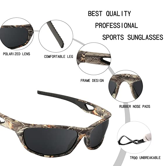 51c51b82f6 Amazon.com  Polarized Sunglasses for Men and Women - Sports Brand Camo Tr90  Unbreakable Frame Dark Gray Lens Youth Baseball Sun Glasses for Hunting  Boating ...