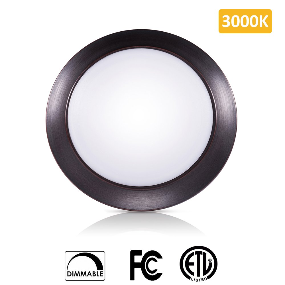 SOLLA 7.5 inch Dimmable LED Disk Light Flush Mount Ceiling Fixture with ETL FCC Listed, 950LM, 15W (90W Equiv.), Warm White, 3000K, Bronze Finish, Ultra-Thin, Round LED Light for Home, Hotel,Office