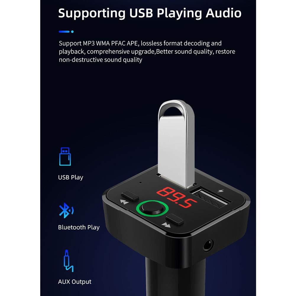 Inicio Transmisor FM Bluetooth 5.0 Adaptador de Radio para Coche Puertos USB Duales para Coche Cargador para Coche Soporte para Reproductor de Mp3