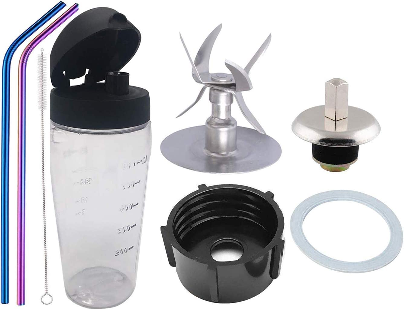 Bottle cup with lid and 6-Point Blade with Sealing Ring Gasket Blender 4902 Blender Jar Bottom Coupling Stud Pin Stainless Steel Straw Cleaning Brush Kit For Blender Blend-N-Go Smoothie Kit