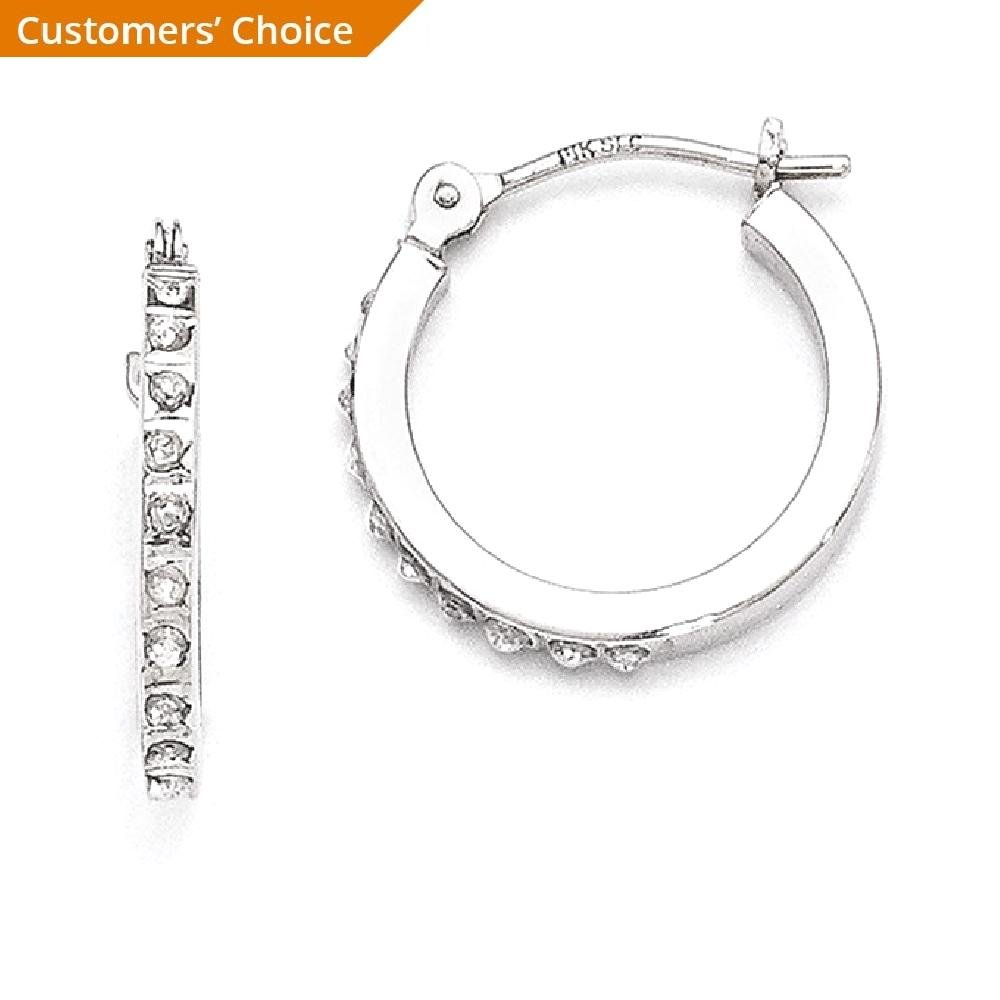 ICE CARATS 14k White Gold Diamond Fascination Hinged Hoop Earrings Ear Hoops Set Fine Jewelry Gift Set For Women Heart by ICE CARATS (Image #2)