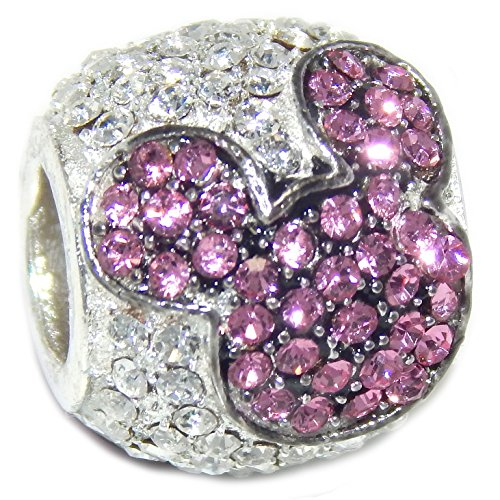 """Solid 925 Sterling Silver """"Barrel with Crystal Mouse Ears"""" Charm Bead (Pink)"""