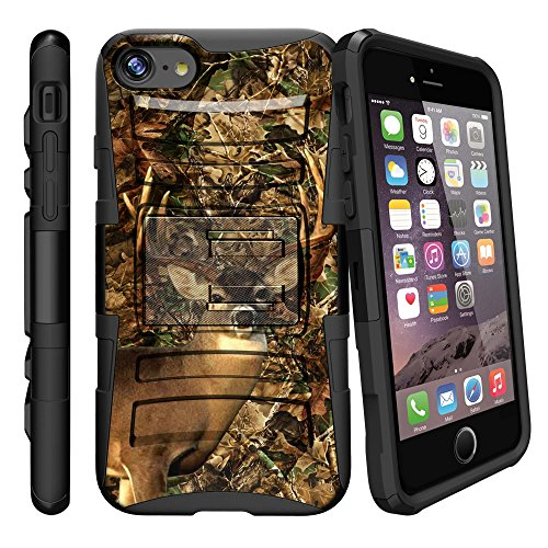 MINITUTLE Compatible with Apple iPhone 8 Plus [Clip Armor] Hard Shell Case Cover w/Holster + Stand Deer Hunting Camo