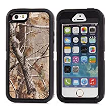 MOONCASE iPhone SE Case, [Realtree Camo Series] 3 Layers Heavy Duty Defender Hybrid Soft TPU +PC Bumper Triple Shockproof Drop Resistance Protective Case Cover for Apple iPhone 5 / 5S / iPhone SE -Black Tree