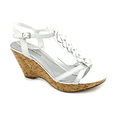 234a17e0e9b8 Bandolino Ninette Womens Size 9.5 White Open Toe Leather Wedge Sandals Shoes