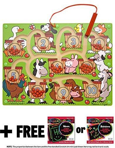 Melissa & Doug Magnetic Number Maze & 1 Scratch Art Mini-Pad Bundle (02280) ()
