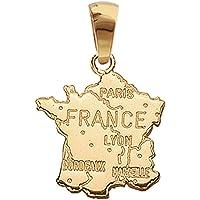 So Chic Bijoux © Pendentif France Carte Pays Grande Taille Plaqué Or 750