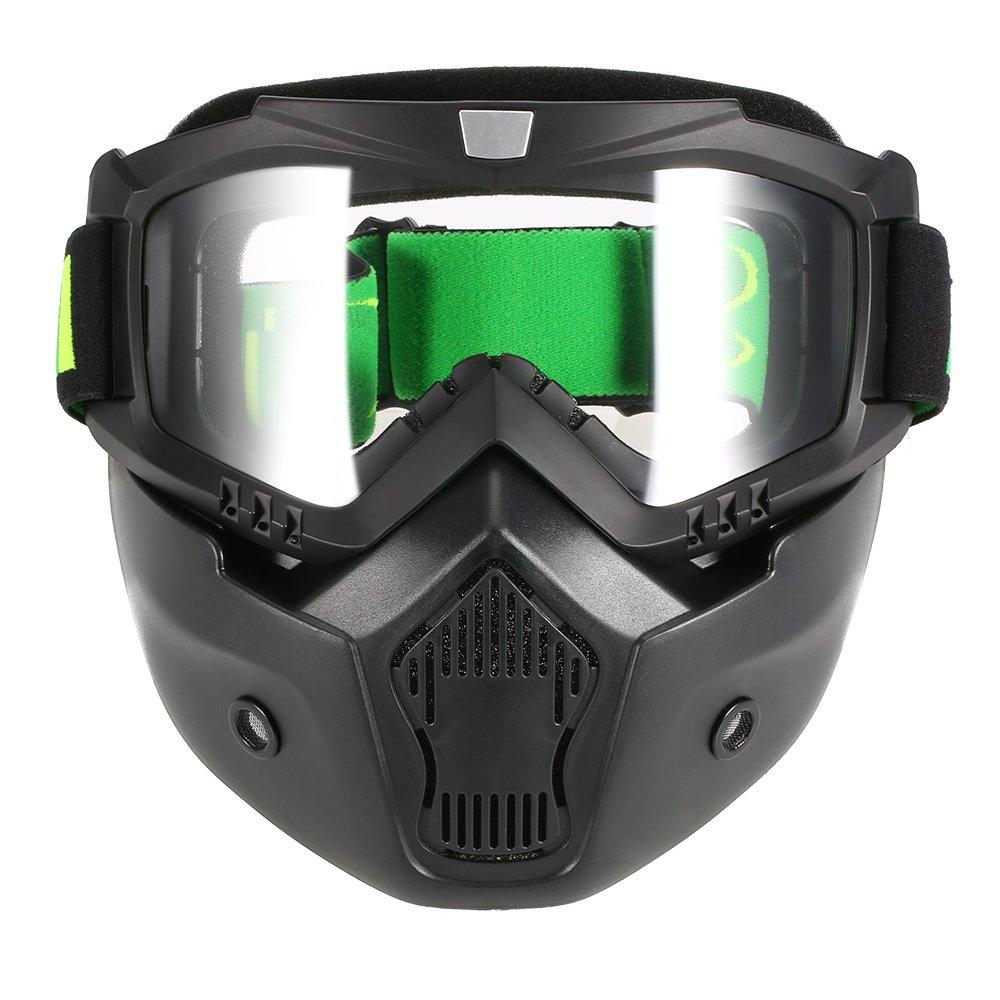 KKmoon Moto Maschera Staccabili Occhiali e Bocca Filtro per Aperto Casco Motocross Sci Snowboard, Nero con Lenti Colorate